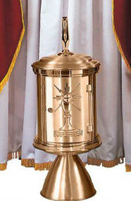 """Bronze Repository is 33"""" Height x 13"""" Diameter. The base is removable & can be used as exposition throne.  Finishes available are high polish accent on satin or all satin. Shown with optional repository drape made of red velvet & white satin lining. Drape sold separately 1806-107. Made in the USA"""