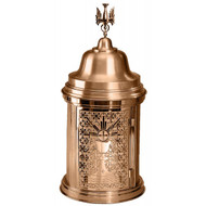 "Bronze tabernacle is 28"" high with 13"" diameter.  Available with High Polish Accents on satin housing or an all satin finish.  Inside of the tabernacle is a white fabric lining.  Oven baked for durability. Supplied with two plain keys but fancy handled keys are available at an additional cost.  Call for quotes on brass or aluminum tabernacle. Made in the USA!!"