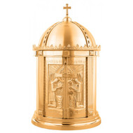 "Bronze tabernacle features high polish accents on satin housing. Dimensions are  34""H x 19""D.  Inside of the tabernacle is a white fabric lining.  Oven baked for durability. Supplied with two plain keys but fancy handled keys are available at an additional cost.  Call for quotes on brass or aluminum tabernacle. Made in the USA!!"