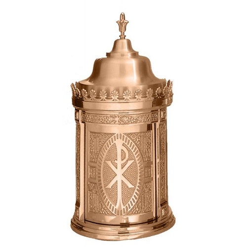 """Made of bronze, this taberanacle has a revolving door. Finish is either high polish accents on satin housings or in plain satin.  Interior is lined with white fabric. Oven baked for durability. Supplied with vault lock, two plain keys. Fancy handle keys are available at an extra cost. Artistic painting available for additional cost.   Made in the USA Sizes available are:  31"""" H x 15"""" diameter base 33"""" H x 17"""" diameter base. 41"""" H x 20"""" diameter base."""