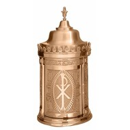 "Made of bronze, this taberanacle has a revolving door. Finish is either high polish accents on satin housings or in plain satin.  Interior is lined with white fabric. Oven baked for durability. Supplied with vault lock, two plain keys. Fancy handle keys are available at an extra cost. Artistic painting available for additional cost.   Made in the USA Sizes available are:  31"" H x 15"" diameter base 33"" H x 17"" diameter base. 41"" H x 20"" diameter base."