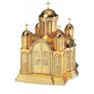 "26"" high x 19.5"" w x 19.25"" deep with vault lock. Drawer located in the tabernacle base steps. High polish or satin finish with white fabric lining. Oven baked for durability. Supplied with two plain keys but fancy handled keys are available at an additional cost.  Call for quotes on brass or aluminum tabernacle. Made in the USA!!"
