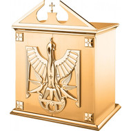 """27""""W x 25.5""""H x 17""""D with vault lock.  High Polish finish with white fabric lining. Oven baked for durability. Supplied with two plain keys but fancy handled keys are available at an additional cost.  Call for quotes on brass or aluminum tabernacle. Made in the USA!!"""