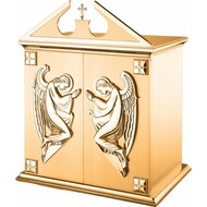 "27""W x 25.5""H x 17""D with vault lock.  High Polish accents on satin housing finish. Tabernacle is lined with a white fabric. Oven baked for durability. Supplied with two plain keys but fancy handled keys are available at an additional cost. Call for quotes on brass or aluminum tabernacle. Made in the USA!!"