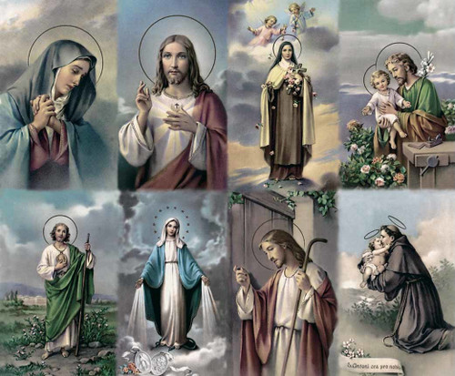 """The Bonella Line of prayer cards are imported from Milan, Italy. The images on these cards are known throughout the world as the most recognizable artistic representations of the Christ,Blessed Virgin Mary and the Saints. Sheet size is 8 1/2"""" x 11"""" with tab that separates into 8 ~ 2 1/2"""" x 4 1/4"""" cards that can be personalized and laminated.  Must order in multiples of 8. Price includes personalization."""