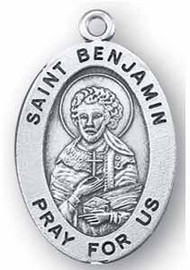 "3/4"" Round or 7/8"" oval medal Portrayal of St. Benjamin holding a Cross close to his Chest. He is the Patron Saint of Deacons.  A 20"" Rhodium Plated Curb Chain is Included with a Deluxe Velour Gift Box.  Engraving option available."