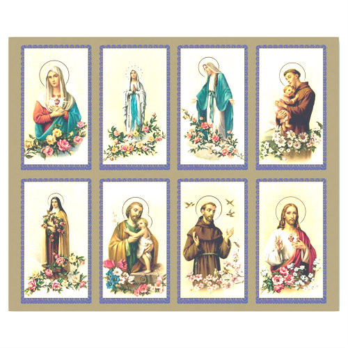 """The Bonella Line of prayer cards are imported from Milan, Italy.  A personalized prayer card is the perfect memento of your special occasion. Add your favorite prayer and message, and you will have a unique and treasured keepsake. Micro-Perforated. Sheet size is 8 1/2"""" x 11"""".  Card size is 2 1/2"""" x 4 1/4"""" each.  Must order in multiples of 8. Price includes personalized message. Full color pictures of the Sacred Heart of Jesus, Sacred Heart of Mary, St. Joseph, Coronation of the Blessed Mother, Madonna of the Streets, Holy Family, Our Lady of Grace. Lamination at an additional charge."""