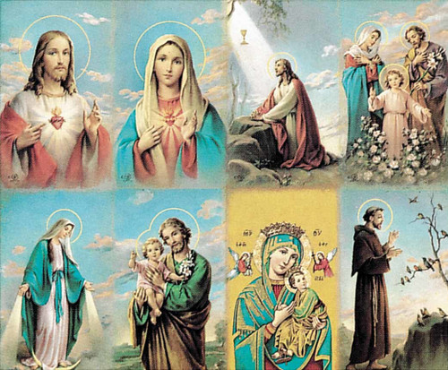 """The Bonella Line of prayer cards are imported from Milan, Italy. A personalized prayer card is the perfect memento of your special occasion. Add your favorite prayer and message, and you will have a unique and treasured keepsake. Micro-Perforated. Sheet size is 8 1/2"""" x 11"""".  Card size is 2 1/2"""" x 4 1/4"""" each.  Must order in multiples of 8. Price includes personalization. Full color pictures of  the Sacred Heart of Jesus, the Sacred Heart of Mary, Jesus in the Garden of Gethsemane, the Holy Family, Our Lady of Grace, St. Joseph, Our Lady of Perpetual Help, St. Francis. Cards can be laminated."""