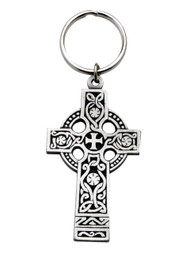 "Pewter Celtic Cross Key ing.  Celtic Cross Key Chain measures 2""W x 3""H; Pewter.  The Celtic cross key chain is made of genuine pewter and expertly engraved with a lovely detailed Celtic design. This 3 inch Irish key chain is made from genuine pewter. Made in the USA."