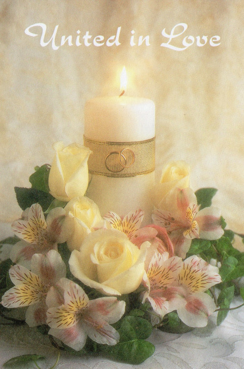 """8.5"""" x 11"""" Foldover Program Cover. Depicts a wedding candle with white roses and orchids. Standard Wedding Bulletins.   Bulletin is shown folded (8.5"""" x 5.5""""). They are  packaged flat 8.5"""" x 11"""".Sold in packs of 100 only"""