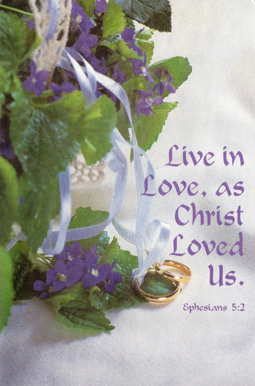 "8.5"" x 11"" Foldover Program Cover. Depicts Purple Flowers, Ribbons and Rings and the words ""Live in Love, as Christ Loved Us"". Standard Wedding Bulletins.   Bulletin is shown folded (8.5"" x 5.5""). They are  packaged flat 8.5"" x 11"".  Sold in packs of 100."