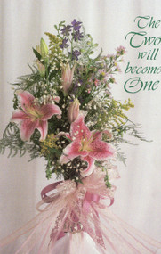"""8.5"""" x 11"""" Foldover Program Cover. Depicts Pink Lillies and Lace and the words """"The Two Will Become One"""" . Standard Wedding Bulletins.   Bulletin is shown folded (8.5"""" x 5.5""""). They are  packaged flat 8.5"""" x 11"""". Sold in packs of 100"""