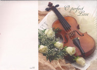 Wedding Program Cover with Violin and White Roses