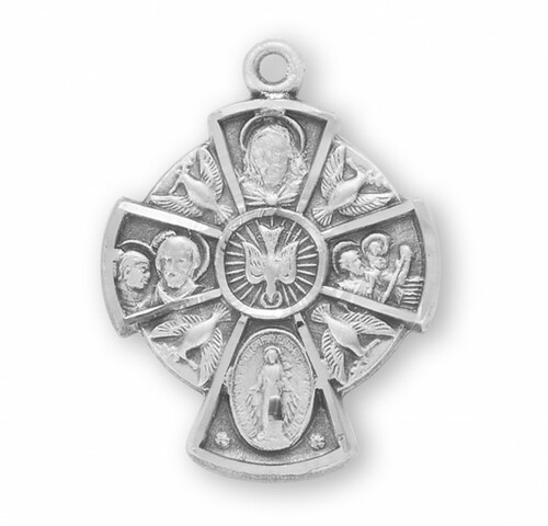 """Solid .925 sterling silver Four-way combination Medal, Miraculous-Scapular-Saint Christopher-Saint Joseph medal. Dimensions: 0.8"""" x 0.6"""" (20mm x 16mm). 18"""" Genuine rhodium plated curb chain. Deluxe velvet gift box. Made in USA."""