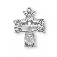 "Sterling silver Four-way Combination Medal, Miraculous-Scapular-Saint Christopher-Saint Joseph medals. Solid .925 sterling silver. Dimensions: 0.9"" x 0.7"" (22mm x 17mm). 20"" Genuine rhodium plated curb chain.  Deluxe velvet gift box. Made in USA."