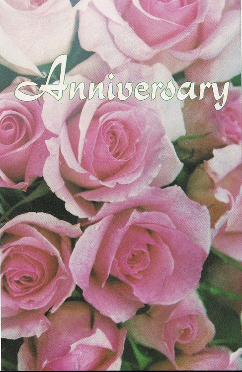 "8.5"" x 11"" Foldover Anniversary Program Cover. Depicts bouquet of pink roses with the words ""Anniversary"" across the top of standard bulletin.   Bulletin is shown folded (8.5"" x 5.5""). There are 100 to a pack and are packaged flat 8.5"" x 11""."