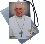 Pope Francis Papal Cross Pendant on Black Cord with Holy Card 2.5""