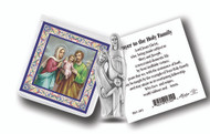 """3"""" x 3"""" Pocket Statue with Gold Stamped Holy Card Packaged in a Clear Soft Pouch"""