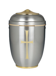 "Silver Aluminum Urn with a Gold Cross. Height: 11"". Minimum Capacity of 200 Cubic inches."