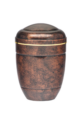 """Aluminum Urn with a Gold Band. Height: 10 3/4"""". Minimum Capacity of 200 Cubic inches."""