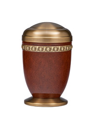"Copper and Brass Urn. Height: 11 3/4"". Minimum Capacity of 200 Cubic inches."