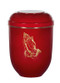 """Red biodegradable urn with gold praying hands. Height:10 1/2"""". Minimum capacity of 200 cubic inches. This biodegradable cremation urn may also be used as a keepsake urn because it will not begin to disintegrate until moisture is introduced."""