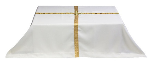 "White Ark Pall with Gold Ribbon measures 54"" x 51"""