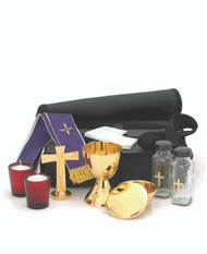 "Travel Mass Kit includes: Chalice Ht. 4 5/8"". 7 oz. Cib. Bowl 3 1/8"". Host 50. 3 1/2"" cover or paten.Cross. Ht. 4 3/8"". Cruets 4 oz. Candles 2"". Soft Vinyl Case 12 1/2"" x 10"" x 3""."