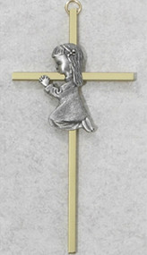 "6"" Gold Plated Cross with Pewter Baby Praying Boy or Girl in the Center.  Engraving is available"