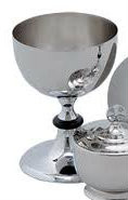 "Large Chalice 5-1/2"" diameter. 7-3/4"" High. 32 ounce capacity. A matching 16 ounce capacity cup (K392), ciborium (K393), and paten (K397) are also available"