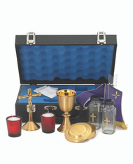 "Travel Mass Kit includes: Chalice Ht. 5 1/4"". 5 oz. Host box cap. 55. Cross Ht. 5 3/4"". Cruets 4 oz. Candles 2"". Case w/lock. 14 7/8"" x 9 1/2"" x 4 5/8""."