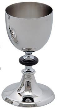 "Small Stainless Steel Chalice. 4' Diameter, 8"" height, 16 ounce capacity. Also available is matching large chalice (K394), Ciborium (K393), and Paten (K397)"