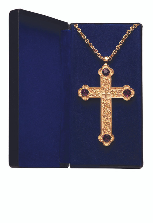 "Goldplated or Silverplated Pectoral Cross with Amethyst is 4"" x 2½"". Scroll design. 32"" chain-gold plate includes gift box. Made in the USA."