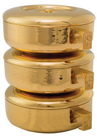 "Stacking Ciboria with Hammered Texture. Available in 24K Goldplate. Sold as a single or a 3 piece set. Total set height: 8-3/4"". Host Capacity: 825 (based on 1-3/8"" host). Each section: 2-7/8"" tall, 275 host capacity. 6-1/8"" bowl diameter. 24kt Gold Plate with a High Polish Inside / Hammered Outside. Proudly Made in USA"
