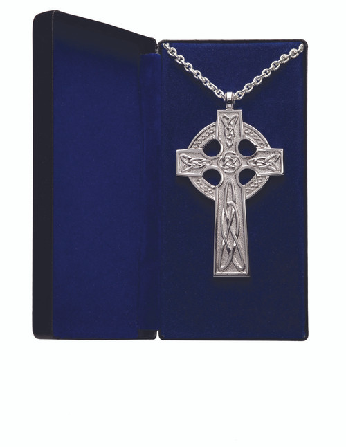"Goldplated or Silverplated Pectoral Cross measures 4"" x 2½"". Scroll design w/ amethyst stones. 32"" Chain-gold plate includes gift box. Made in the USA."