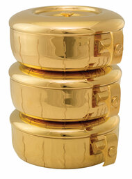 "Single or stacking style ciboria is 24K gold plate with high polish inside. Single piece with lid measures 2 3/4""H and holds 275 host. Stacking Ciboria holds 825 Set Ht. 8 ½"".  All host capacities are based on 1 3/8"" host.  Ciboria has vertical lines throughout bowl. Made in the USA!Host 825."