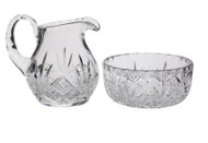 "Crystal Lavabo Set: Pitcher Ht. 4 1/2"" and holds 10oz. Bowl dia. 4 1/2"" Ht. 2 1/4"""