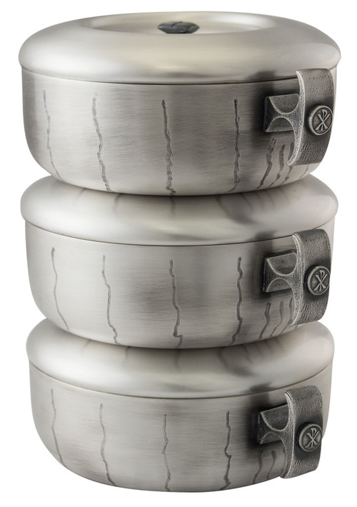"""Single or stacking style is Silver oxidised with gold plate high polish inside. Single piece with lid measures 2 3/4""""H and holds 275 host. Stacking Ciboria holds 825 Set Ht. 8 ½"""".  All host capacities are based on 1 3/8"""" host.  Ciboria has vertical lines throughout bowl. Made in the USA!"""