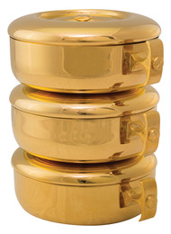 """24k high polish goldplate single ciboria has a host capacity of 275 for single use (based on 1 3/8"""" host). The single bowl and lid measure 2 7/8""""H. The complete set has a host capacity of 825 host and stands 8 3/4""""H. The bowl diameter is 6 1/6""""."""