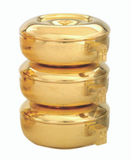 """Goldplate Triple Stacking Ciboria in a straw textured finish. Overall Ht. 8 3/4"""". Ciboria has a host Capacity of  825. (based on 1 3/8"""" host). Bowl diameter is 6"""" 1/8. Single ciboria with lid stand 2 7/8""""H with a host capacity of 275. Made in the USA!"""