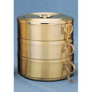 "24 K gold plate Stacking Ciboria with Swinging Handles. 3 Piece Set has 1200 host capacity. High polish inside.  Set Ht. 6 1/4"".  Single Piece w/cover Ht. 2 1/4"". Host Capacity-400. Piece no cover Ht. 2 1/4"".  6 3/8"" bowl diameter. All host capacities are based on 1 3/8"" host.  Made in the USA!"
