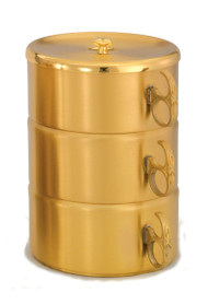 "24K gold plate Single or Stacking Ciboria. Single Ciboria with no cover measures 2 1/4""H. Single Ciboria with  cover measures 2 1/2""H. Single ciboria holds 400 host based on 1 3/8"" host. 3 Piece Set has 750 host capacity. The ciboria have a high polish inside with a satin finish.  The full set height is 8""H. Bowl diameters are 5 1/2""D."