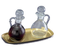 "Cruet Set: CB1 Glass Cruets - 6 ounce capacity, Height 6"". Brass/Lacquer Tray 504/B - 9 1/4"" x 4 1/4"""