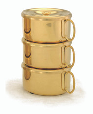"24 K gold plate single or 3 piece set Stacking Ciboria has 480 host capacity. High polish inside. Set Ht. 7 7/8"". Single Piece w/cover measures 2 3/8""H. Host Capacity-160  Bowl diameter is 4 5/8""D. All host capacities are based on 1 3/8"" host. Made in the USA!"