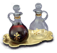 "The Set of Cruets and Tray-Cruet Set: Glass Cruets - 10 ounce capacity, Height: 6 1/2"". Brass/Lacquer Tray - 9 1/4"" x 6"""