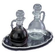 "The Set of Cruets and Tray-Cruet Set: Glass Cruets - 6 ounce capacity, Height: 6"". Chrome Tray - 9 1/2"" x 6 3/4"""