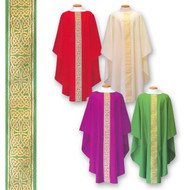 "Ample Cut Dalmatics and Chasubles in easy care polyester linen weave fabric and has gold brocade down center. Colors Available:  Red, Off White, Kelly Green and Purple. Plain Neckline or 3.5"" Roll collar."