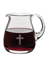 Glass Flagon Etched with Cross - 32 ounce capacity, Height: 6""