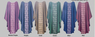 """New brocade, featuring coordinating chasuble fabric. Chasuble fabric is a lightweight viscose polyester blend with a woven cross pattern that matches the background of the brocade. Ample cut. Plain Neckline or 3.5"""" Roll collar. Color Choices: Roman Purple, Purple, Gold, Green , Blue, or Red"""