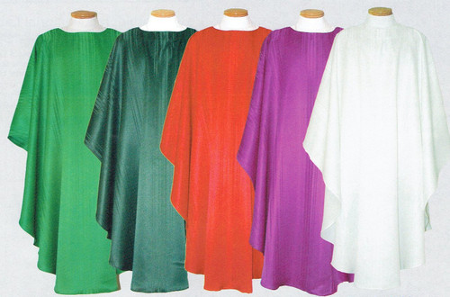 "Easy care 100% polyester Round collar Chasuble or Dalmatic (Item #901). Available in Kelly or Hunter Green, Red, Purple and White. Coordinating items available:  Overlay Stole (Item #902) and Deacon Stole (Item #903), Chalice Veil (Item # 904), Matching Burse (Item #905), and/or Pair of Altar Scarves (Item #906)(Lined and Interlined 10"" wide and 46"" long). Customer scarf sizes are available. Please call 1 800 523 7604 for quote!"